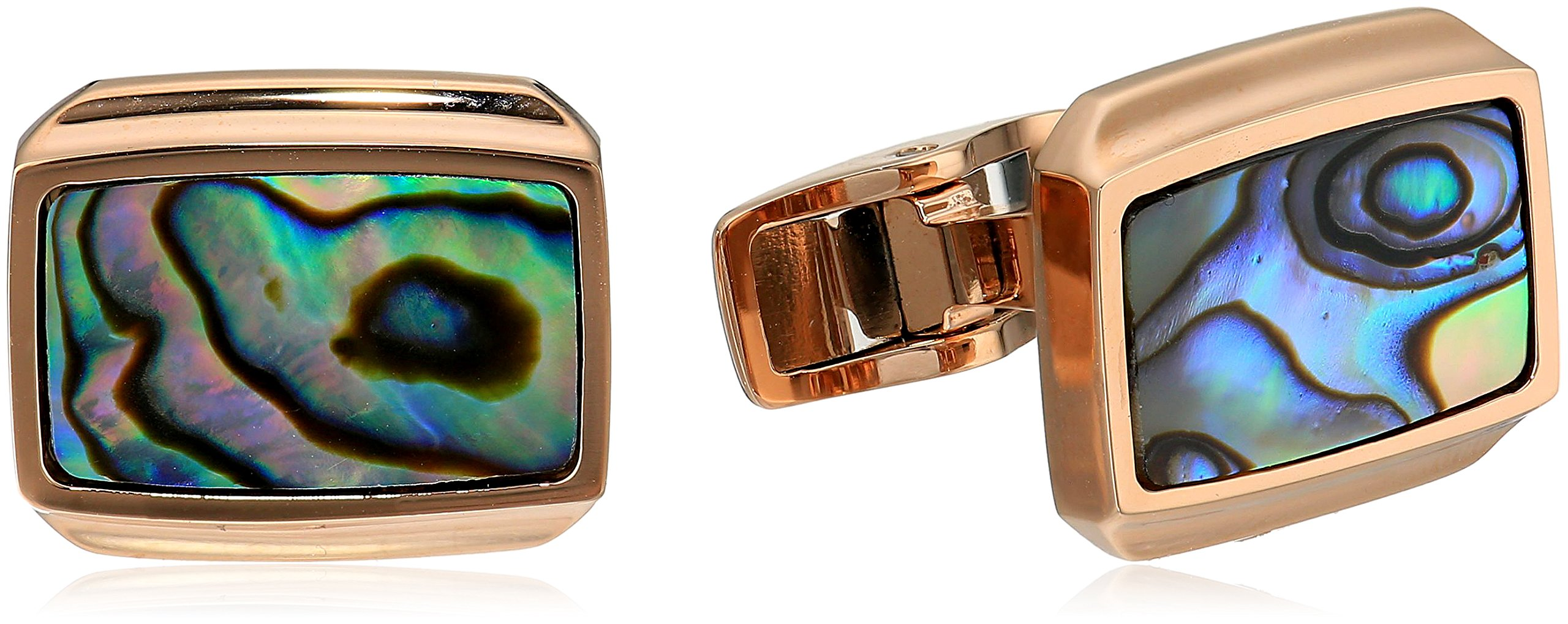 Men's Stainless Steel Rose Ion with Abalone Inlay Cuff Link