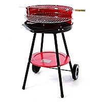 Nexos Holzkohlegrill Rot XL Balkon Garten Camping Picknick ✔ Rollen ✔ Ablagefläche ✔ rund ✔ rollbar ✔ Stand ✔ Grillen mit Holzkohle