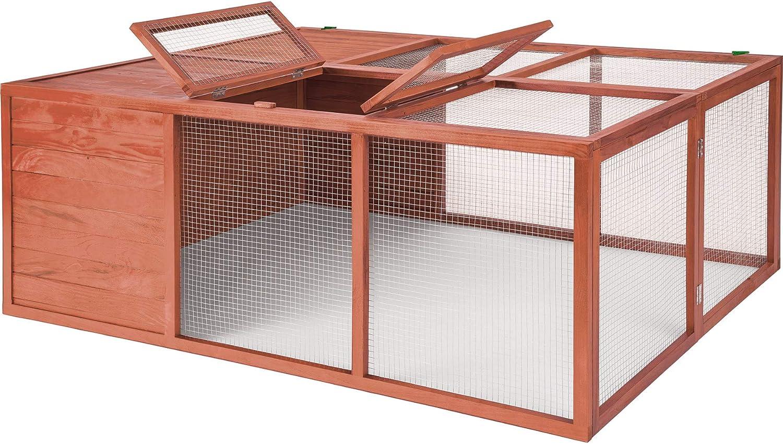 TecTake 403242 Cage à Lapin Hamster en Bois résistant, avec Parc spacieux au Sol sans Fond pour rongeurs, Toit ouvrant, Grille Stable, 159 x 109 x 55 cm