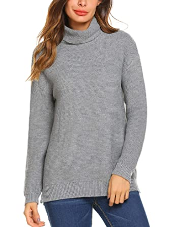 994c2d1a7d Teewanna Women s Korean Design Turtle Cowl Neck Ribbed Cable Knit Long  Sweater Jumper (Grey