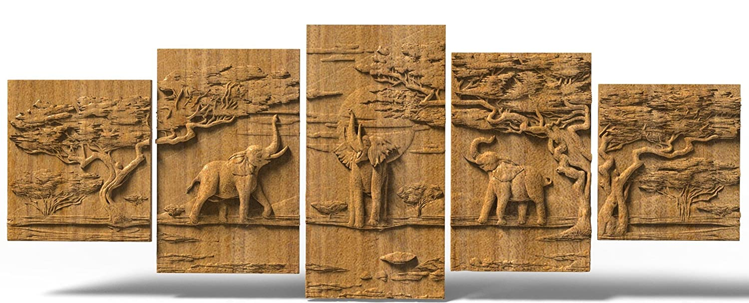 Elephants gifts Wood carving Home decor wall art wooden plague