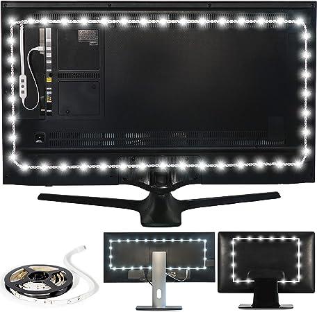 Luz de Fondo Luminoodle para TV - 1 Metro - Tira de luz LED Blanca USB Brillo Normal para retroiluminación de Fondo de televisores LCD y monitores PC: Amazon.es: Hogar