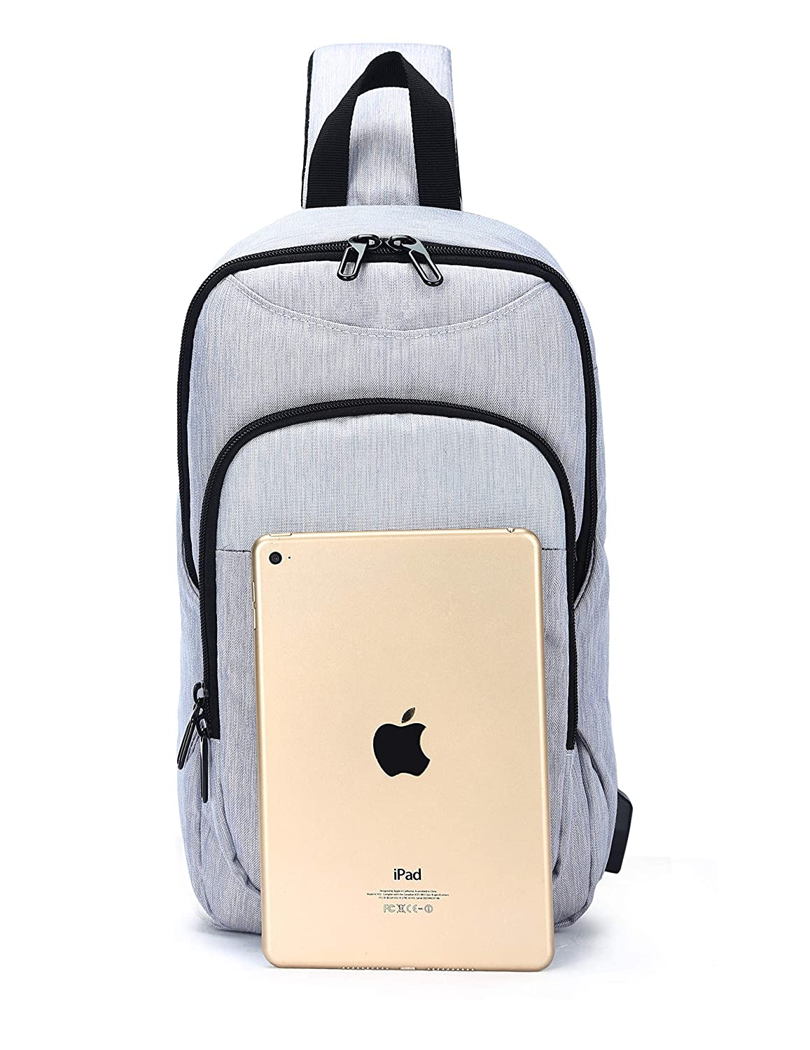 Yeasumoe Sling Bag Small Chest Shoulder Backpack Anti Theft Casual Daypack with USB Charging Port for Men Boys