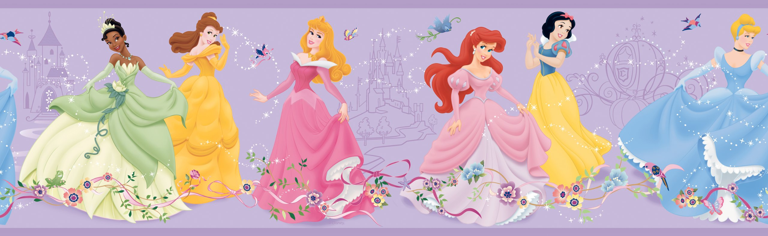 York Wallcoverings Disney Kids DK5944BD Dancing Princess Border, Purple Background