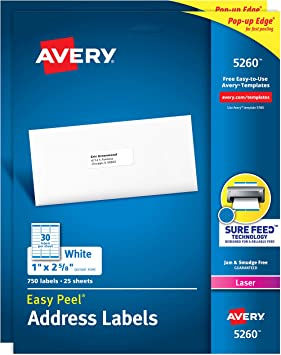 """Avery Address Label with Sure Feed 750 Labels for Inkjet Printers 1/"""" x 2-5//8/"""""""
