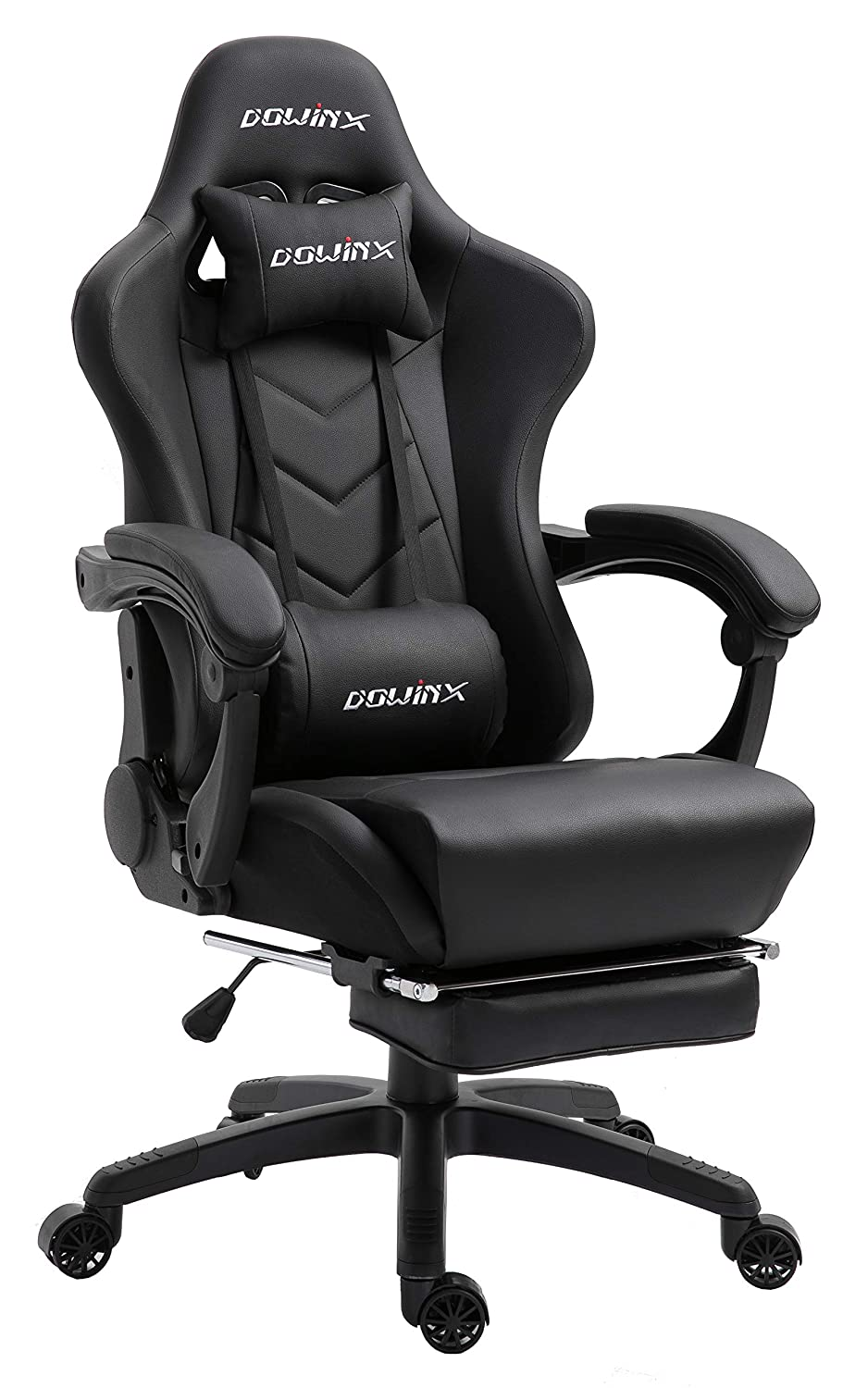 Dowinx Gaming Chair Ergonomic Office Recliner for Computer with Massage Lumbar Support, Racing Style Armchair PU Leather E-Sports Gamer Chairs with Retractable Footrest (Black)