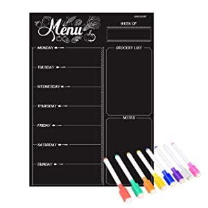 Magnetic Refrigerator Chalkboard,Weekly Menu, Meal Planner, Grocery Shopping List, Dry Erase Board, for Kitchen Fridge with 8 Color Magnetic Markers (16inchx12inch)