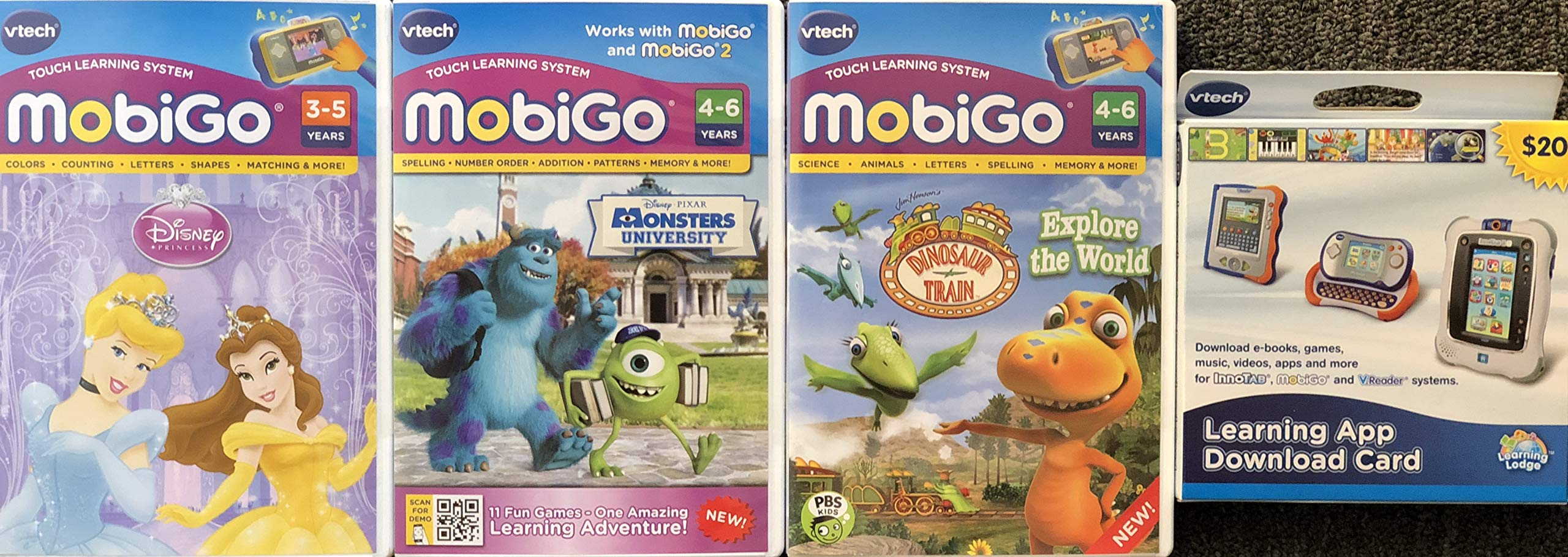 MobiGo Vtech Touch Learning System Bundle Includes: 3X Games - Disney Princess, Dinosaur Train, Monsters University & $20 Download Card (Bundle Three)
