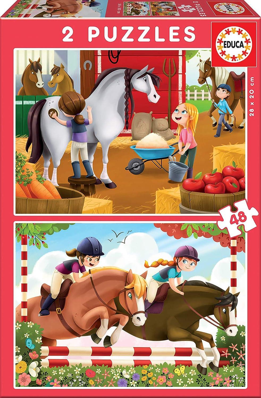 Educa - Cuidando Caballos, 2 Puzzles infantiles de 48 piezas, a partir de 4 años (17150)