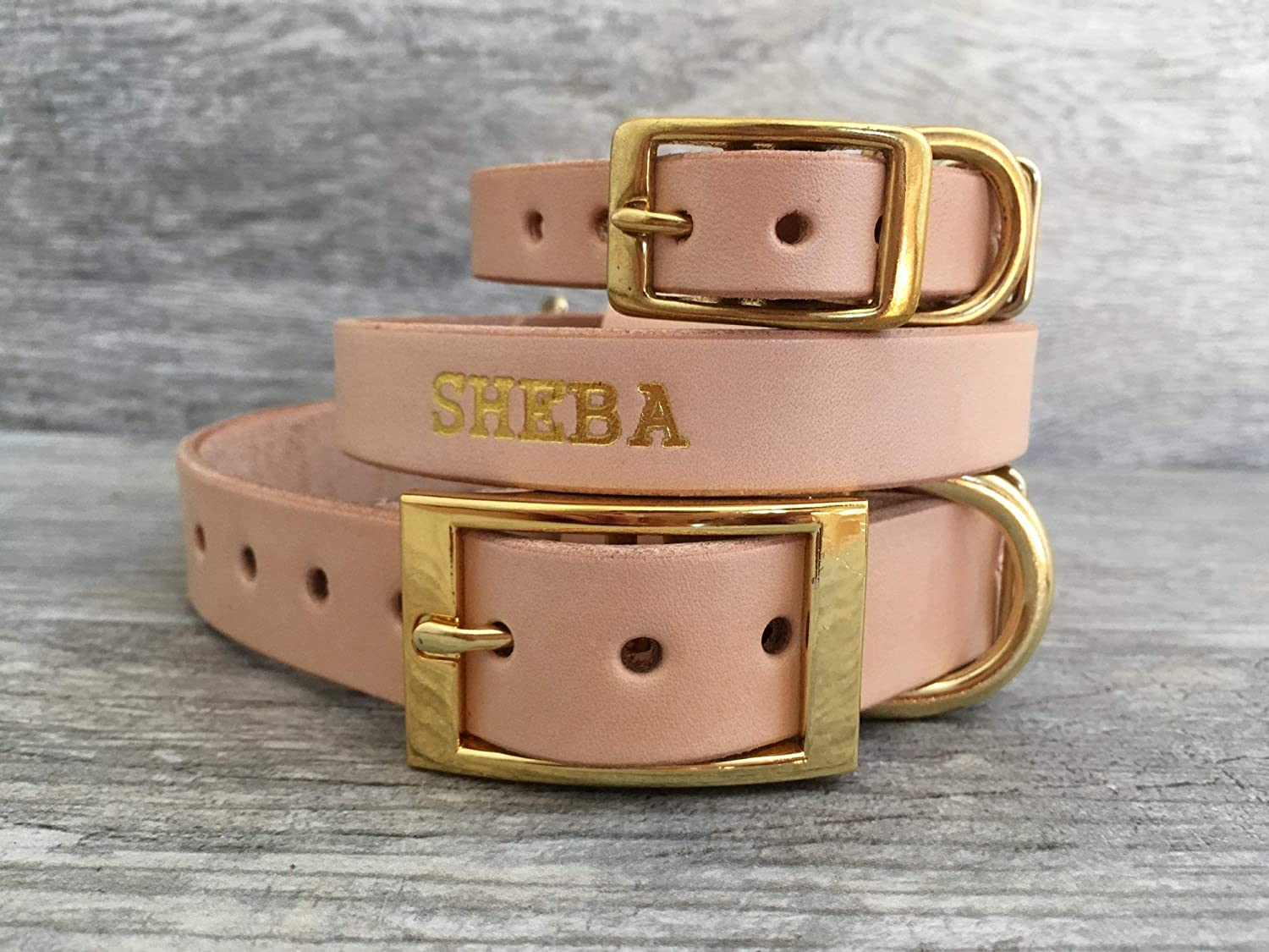Handmade Personalized Natural Veg Tan Leather Dog Collar, Brass/Gold Tone Foil Embossed Pet Name, Choose Your Font