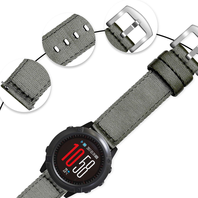 Vinband Bracelet Montre Haute Qualité Nylon Bracelet Montre - 18mm, 20mm, 22mm, 24mm Montre Bracelet avec Acier Inoxydable Boucle Gris