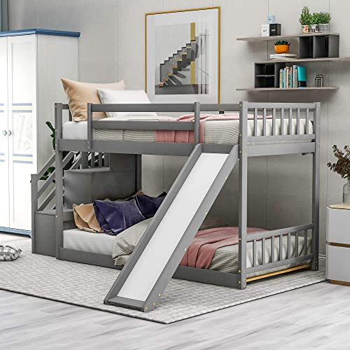 SOFTSEA Kids Wooden Low Bunk Bed