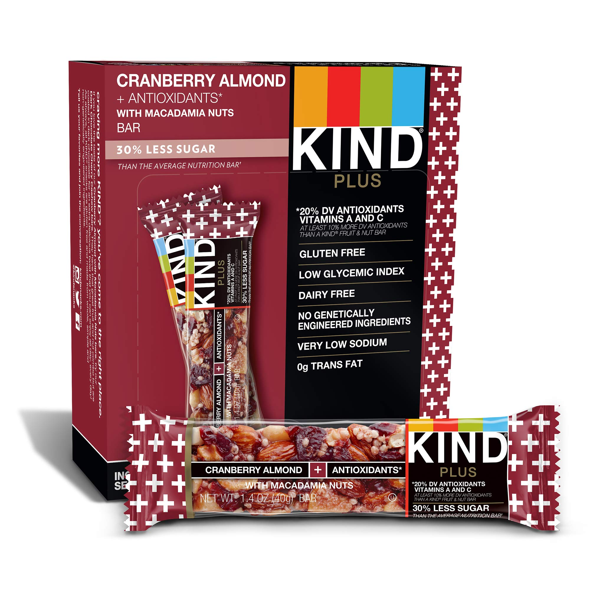 Kind Bars, Cranberry Almond Plus Antioxidants with Macadamia Nuts, Gluten Free, Low Sugar
