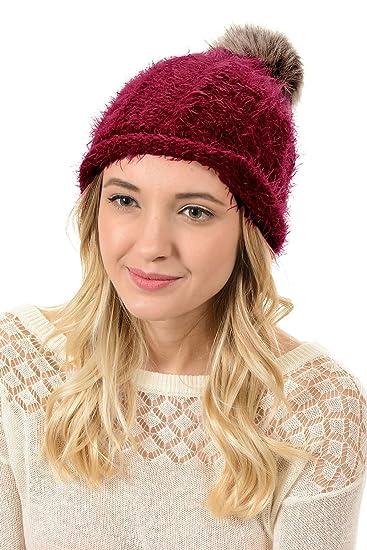 a85e85017176e Women Men s Winter Fur Ball Pompom Beanie Cozy Knit Hat ( 404 Burgundy)