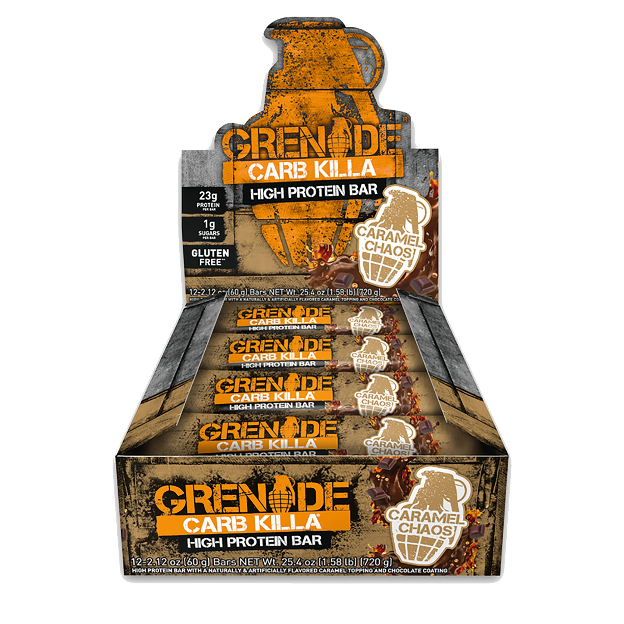Grenade Nutrition - Grenade Carb Killa Protein Bar - High Protein, Low Carb Protein Supplement Bars (Caramel Chaos, 12 Bars)