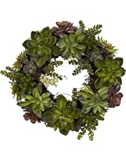 Nearly Natural 4798 Succulent Wreath, 20-Inch, Green