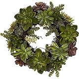 Nearly Natural 4798 Artificial Succulent Wreath, 15-inch diameter, Green