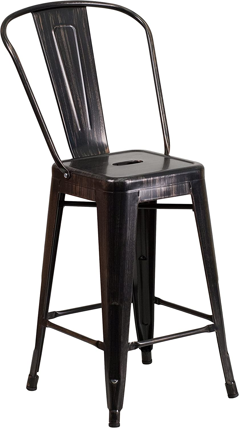 """Flash Furniture Commercial Grade 24"""" High Black-Antique Gold Metal Indoor-Outdoor Counter Height Stool with Removable Back"""
