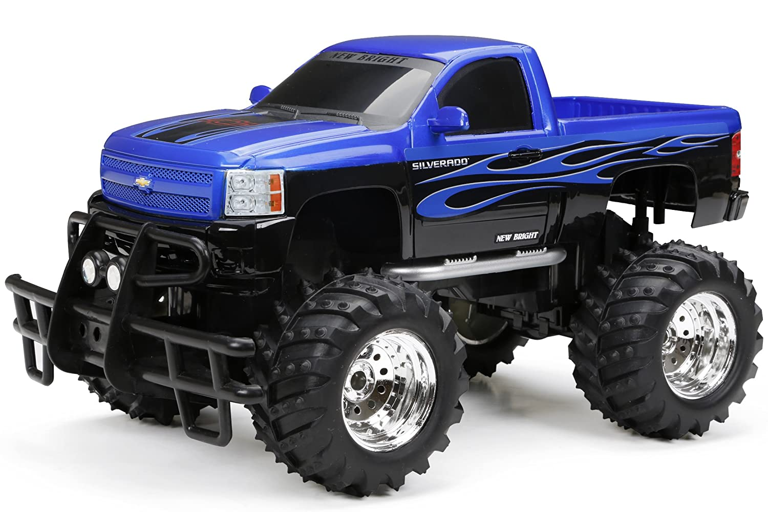 New Bright 114 Radio Control Chevy Silverado Styles Big Blue Jacked Up Truck May Vary Toys Games
