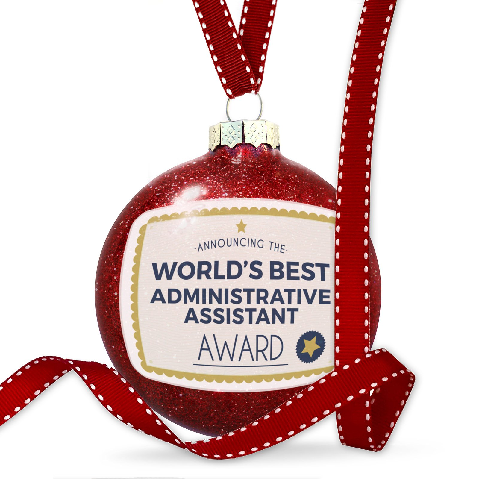 Christmas Decoration Worlds Best Administrative Assistant Certificate Award Ornament