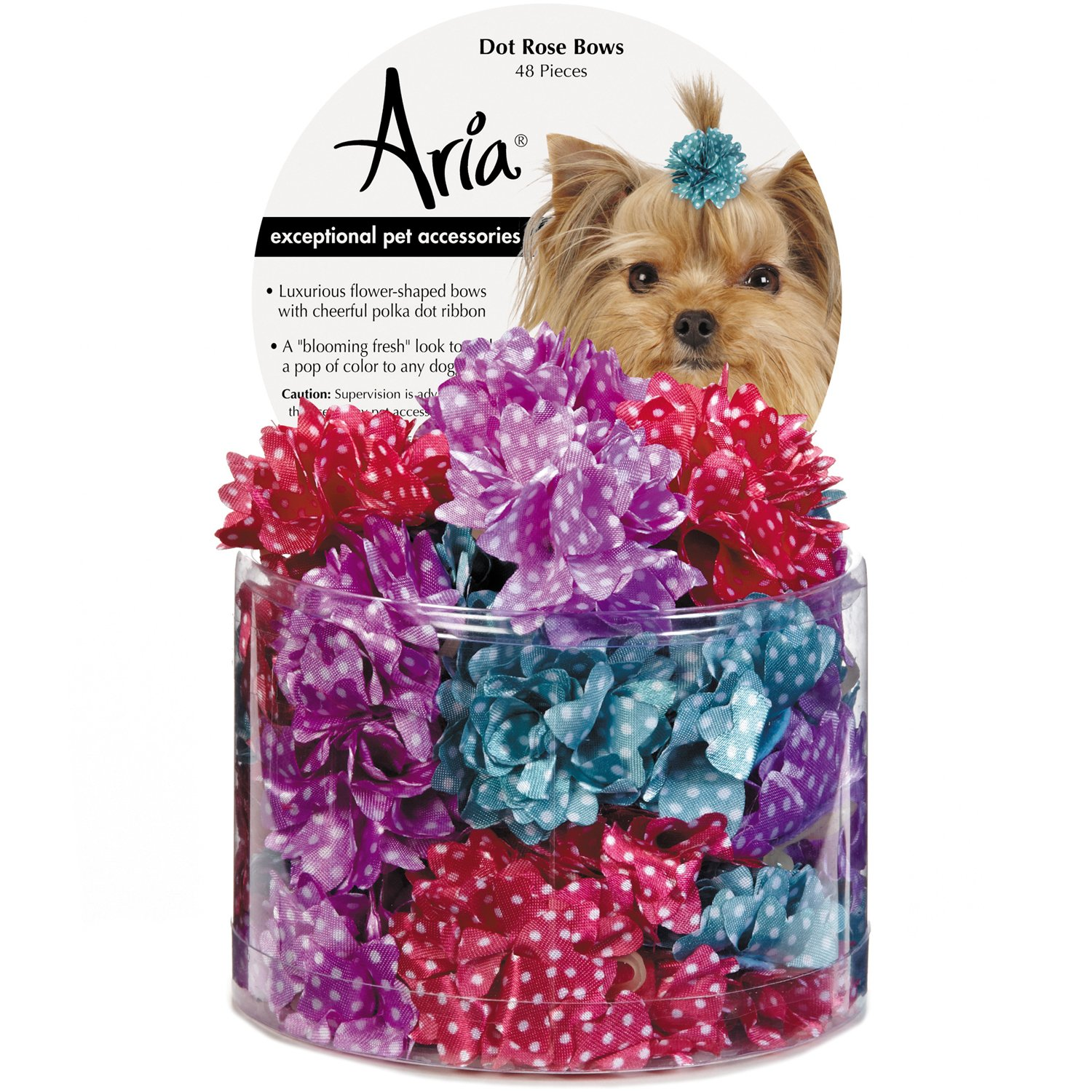 Aria Dot pink 48 Piece Bows for Dogs
