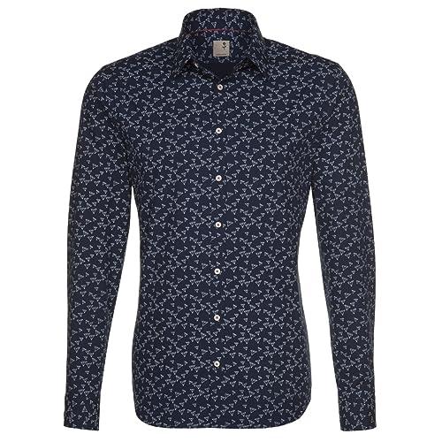 Seidensticker Herren Langarm Hemd Schwarze Rose Slim Fit blau / weiß 240450.19