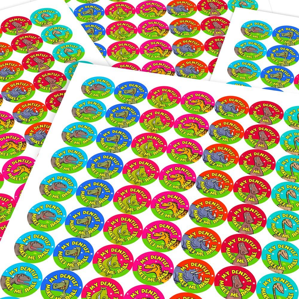 Parents 6 Stickers @ 9.5cm Children Teachers Graphic Flavour Dentist Dinosaur Brushing Reward Sticker Labels