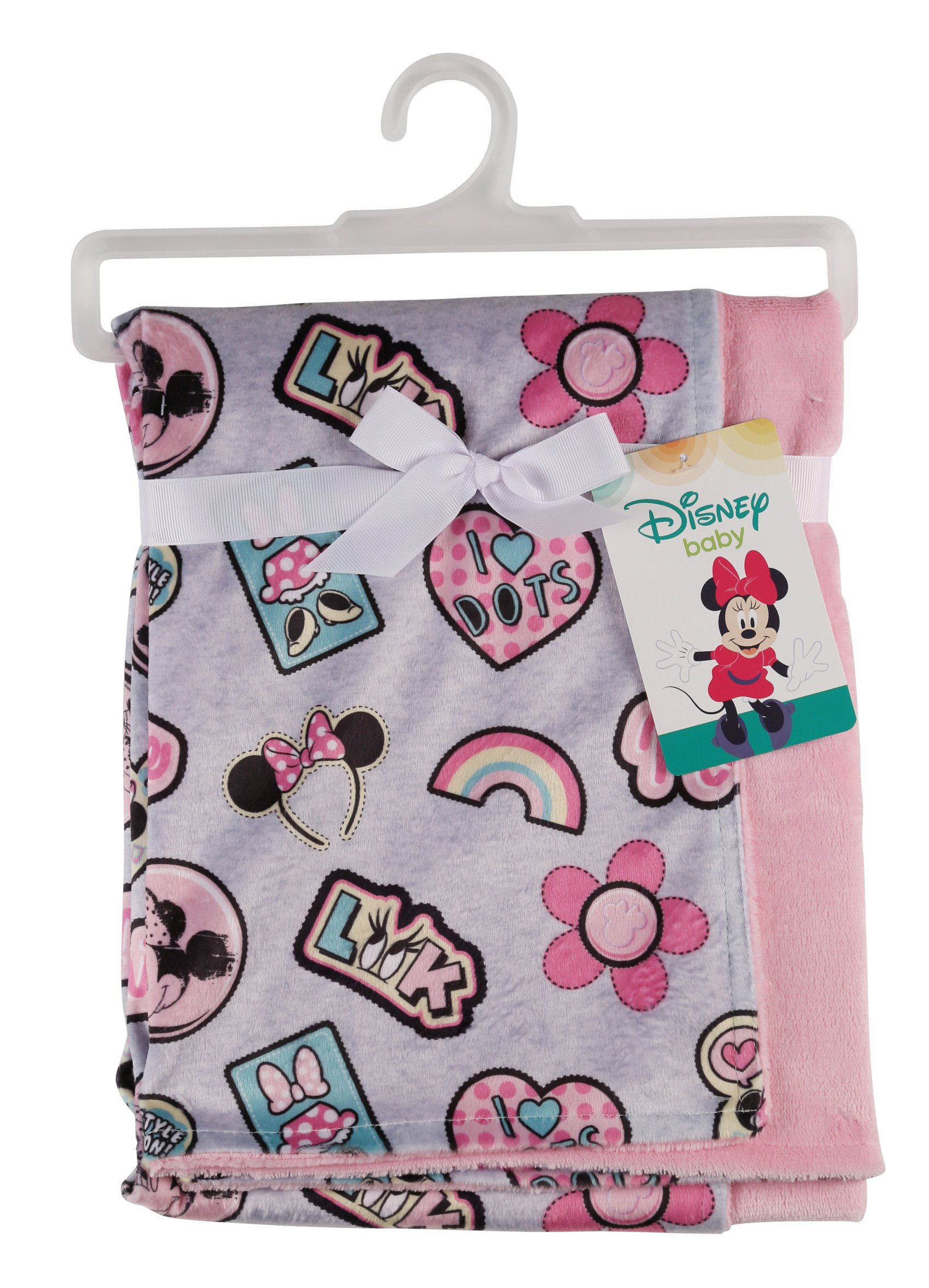 Disney Minnie Mouse Mink and Sherpa Double Sided Infant Blanket, Style Icon Print