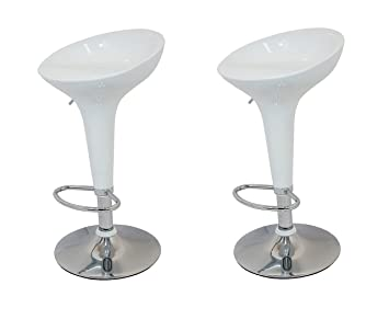 La Silla Española - Pack de Dos Taburetes Estilo Rex en PVC Color Blanco, Regulable en Altura 44x40x87 cm, 2 Unidades: Amazon.es: Hogar