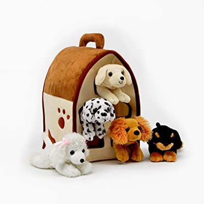 Plush Dog House -Five (5) Stuffed Animal Dogs (Dalmation, Yellow Lab, Rottweiler, Poodle, Cocker Spaniel) in Play Dog House Carrying House: Toys & Games