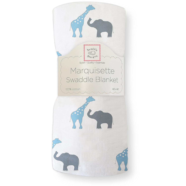 SwaddleDesigns Marquisette Swaddling Blanket, Premium Cotton Muslin, Yellow Safari Fun