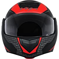 Vega Crux DX Full Face Helmet (Checks Dull Black and Red, M)