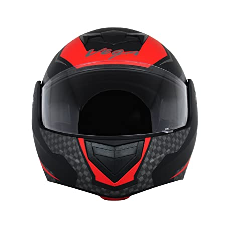 accdf44c Vega Crux DX Full Face Helmet (Checks Dull Black and Red, M): Amazon.in:  Car & Motorbike