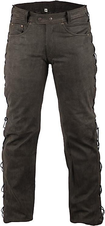 Mdm Lederhose Bikerlederhose Bikerjeans Lederjeans In Nubuk Leder Seitlich Geschnürt Bekleidung