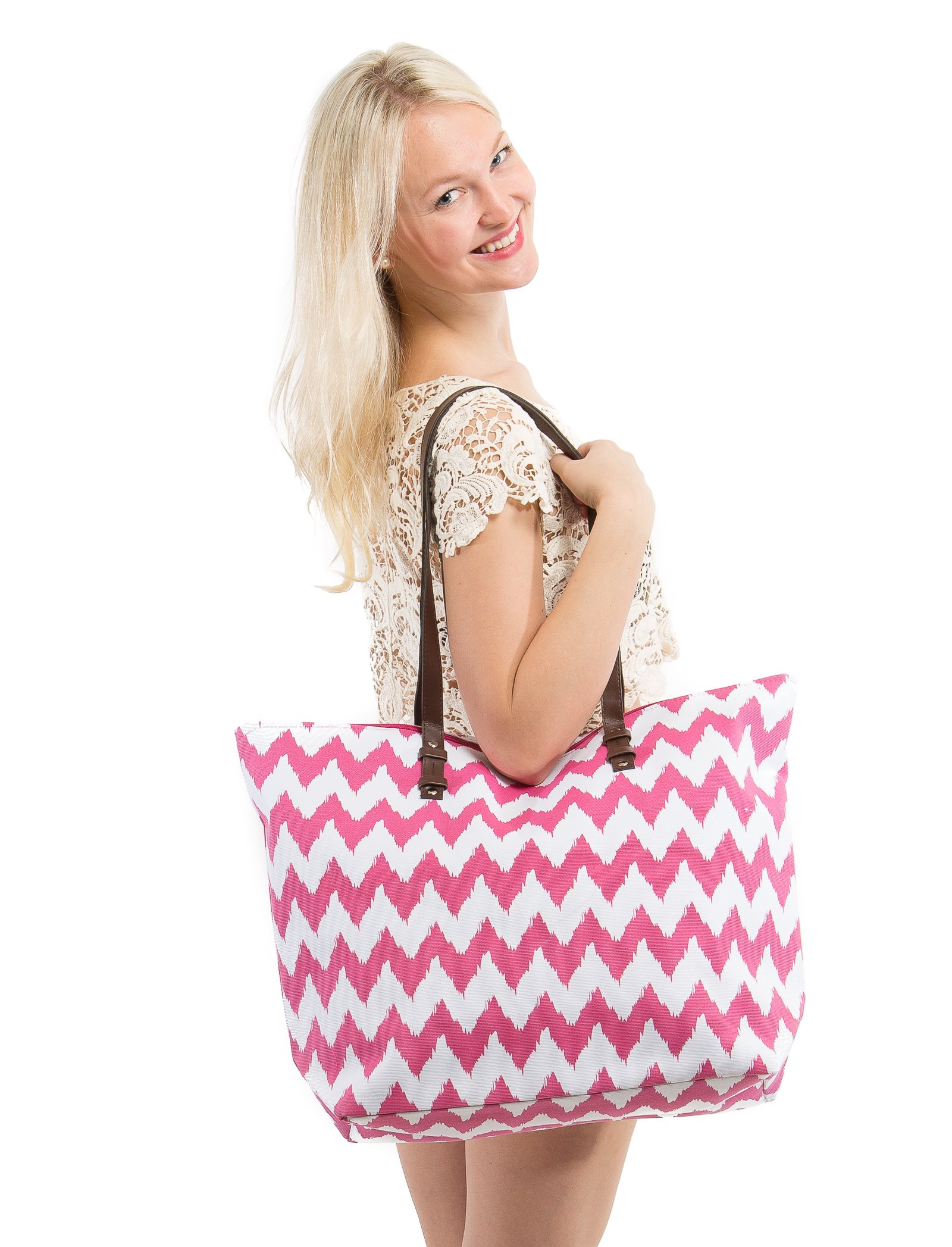 X-Large Chevron Print Canvas Beach Bag Tote - 22''x15''x6'' (Pink Chevron)