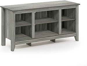 FURINNO Jensen TV Stand with Shelf, French Oak Grey