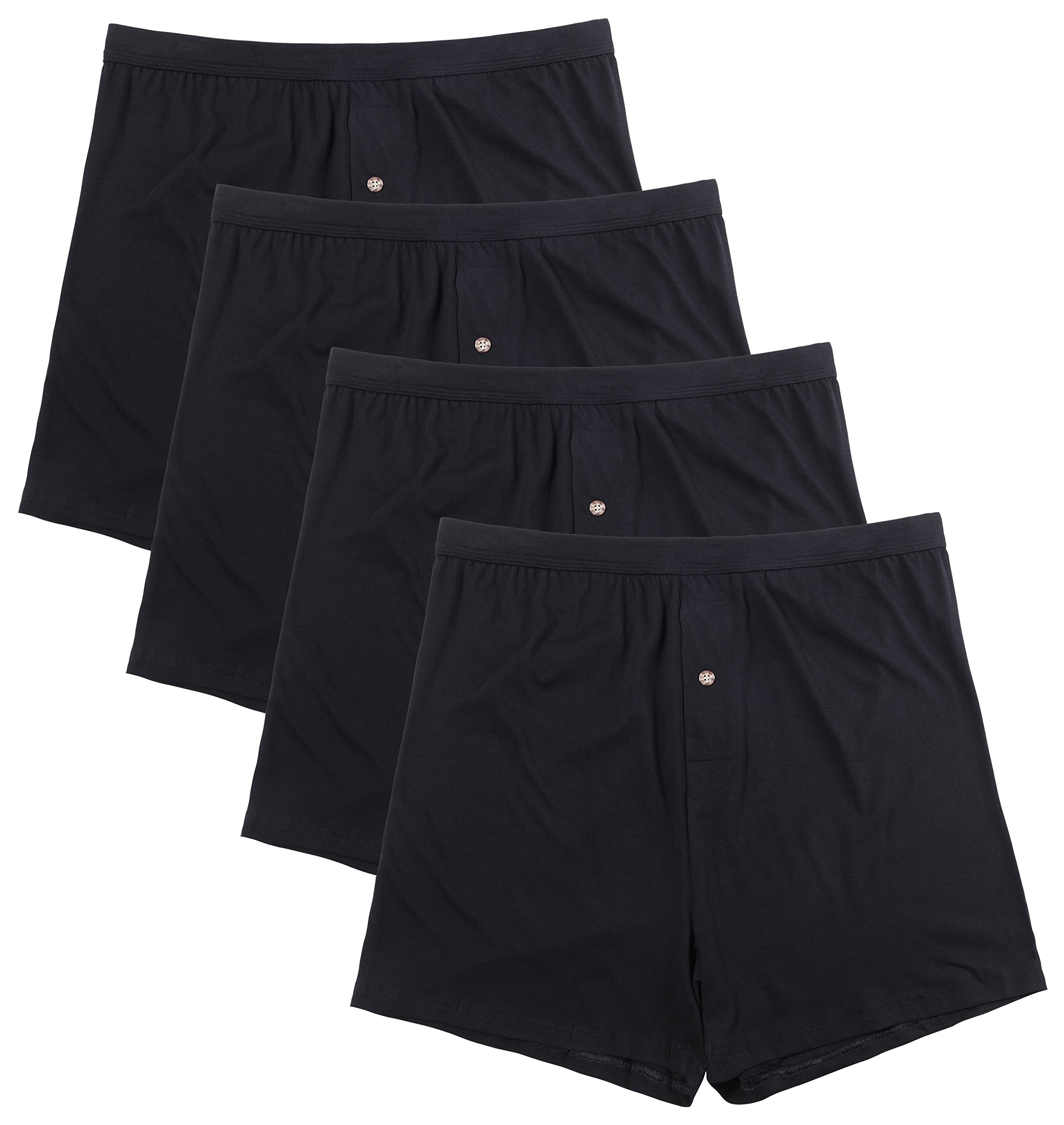 Innersy Men's 4 Pack Ultimate Soft Stretchy All Cotton Knit Boxers (XL, 4 Black)