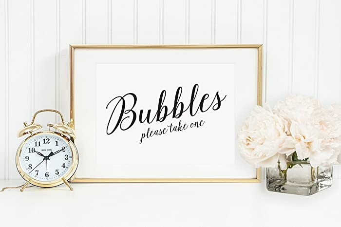 Bubbles Sign Table Card Bubble Send Off Wedding Reception Signage