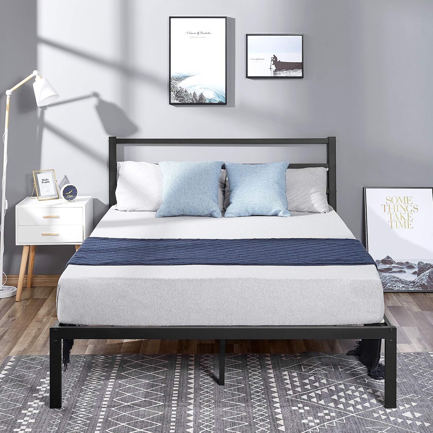 kealive Bed Frame with Headboard, Wooden Slats Bed Frame Noise-Free and Anti-Slip Mattress Foundation, No Box Spring Needed, Maximum Under-Bed Storage, Easy Assembly, Queen