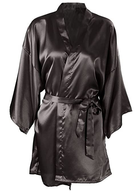 2da56f2e7 Image Unavailable. Image not available for. Color  Women s Pure Color  Kimono Satin Robe Nightgown Sleepwear Short Black