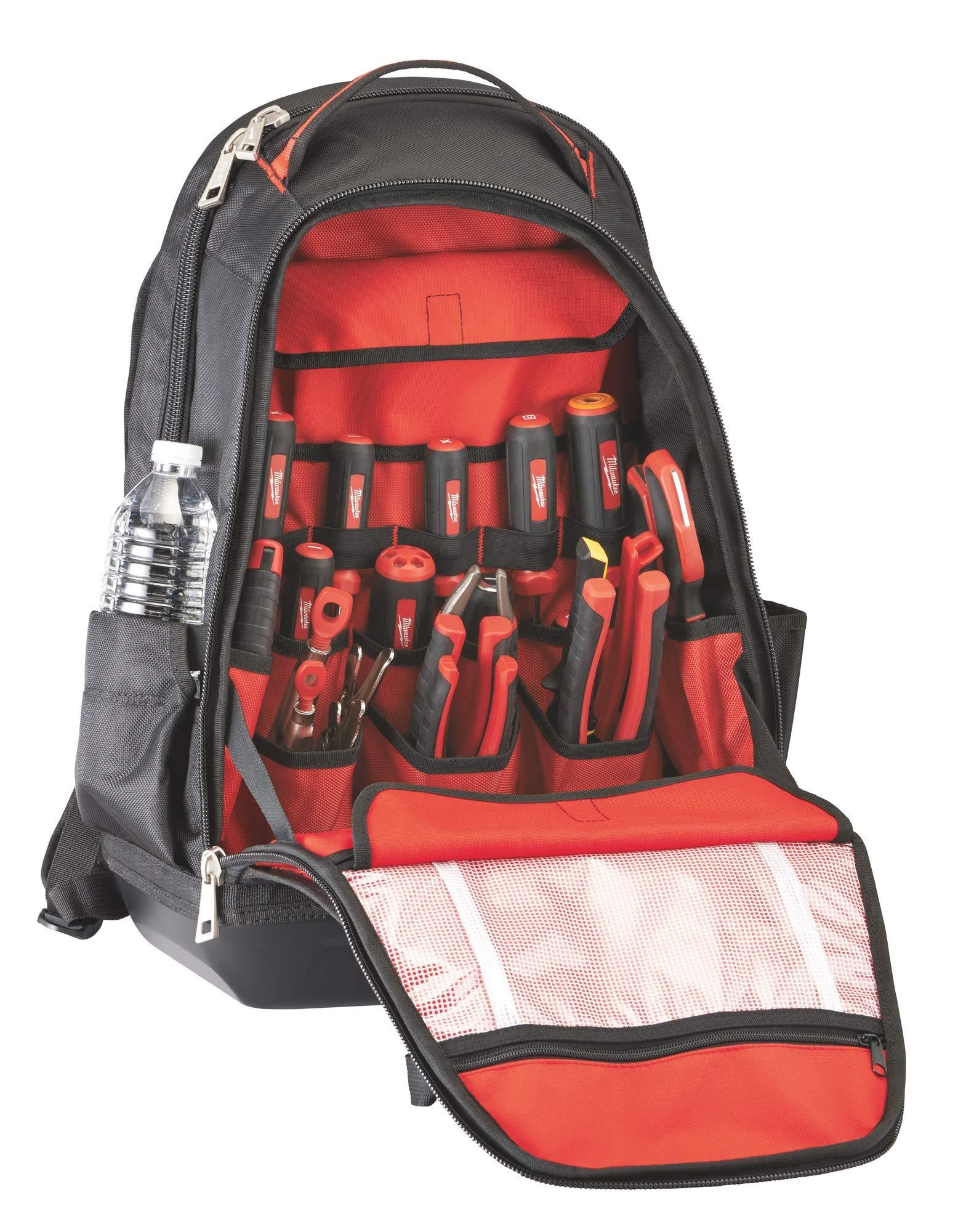 MILWAUKEE'S 48-22-8200 1680 Denier 35 Pocket Jobsite Backpack w/ Laptop Sleeve and Molded Plastic Base