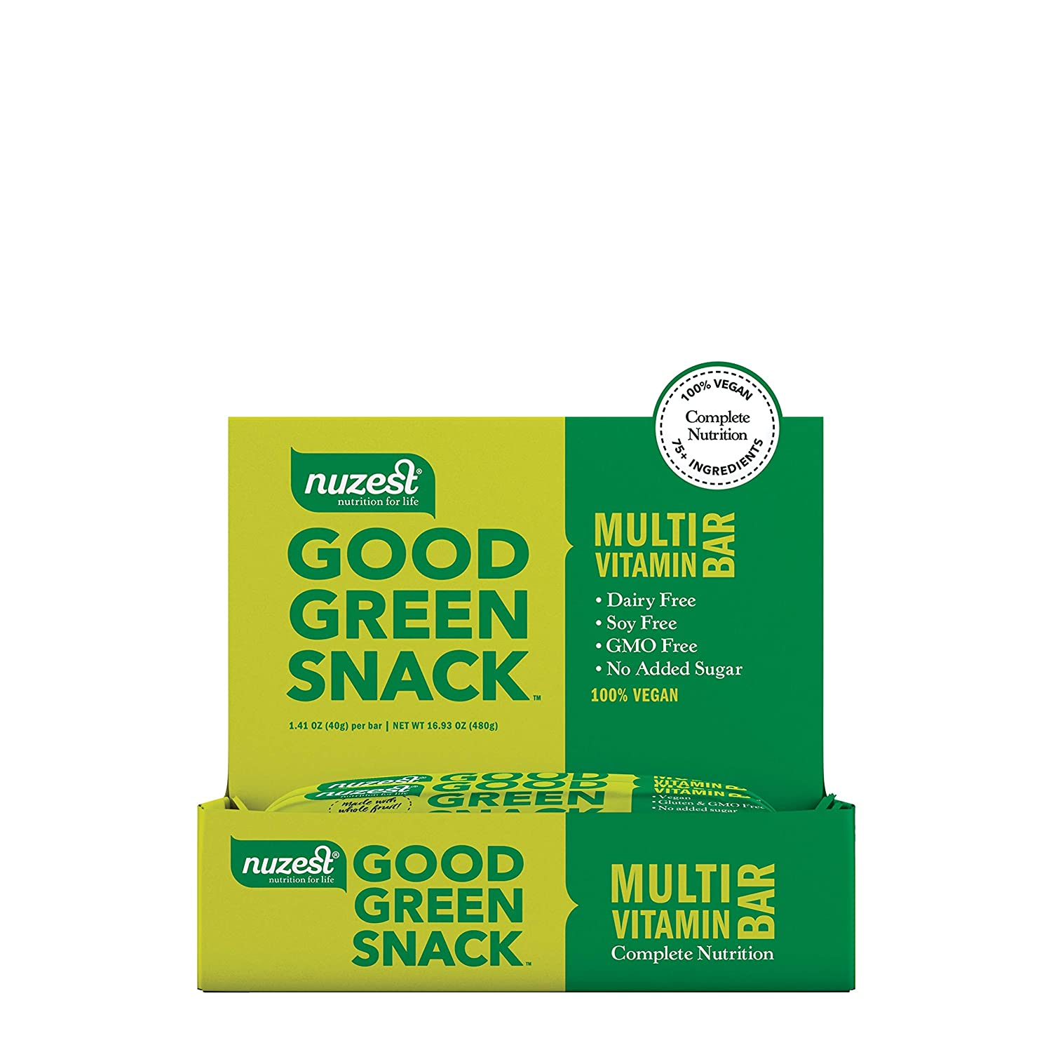 Nuzest Good Green Snack Bar – 50 of Daily Vitamins and Minerals, Natural Energy Booster, No Sugar Added, Vegan, Source of B12, 100 Plant-Based, Box of 12