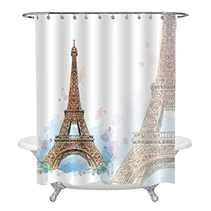 MitoVilla Hand Painted Gold Paris Eiffel Tower Decor For Bathroom Watercolor Themed Mildew Resistant
