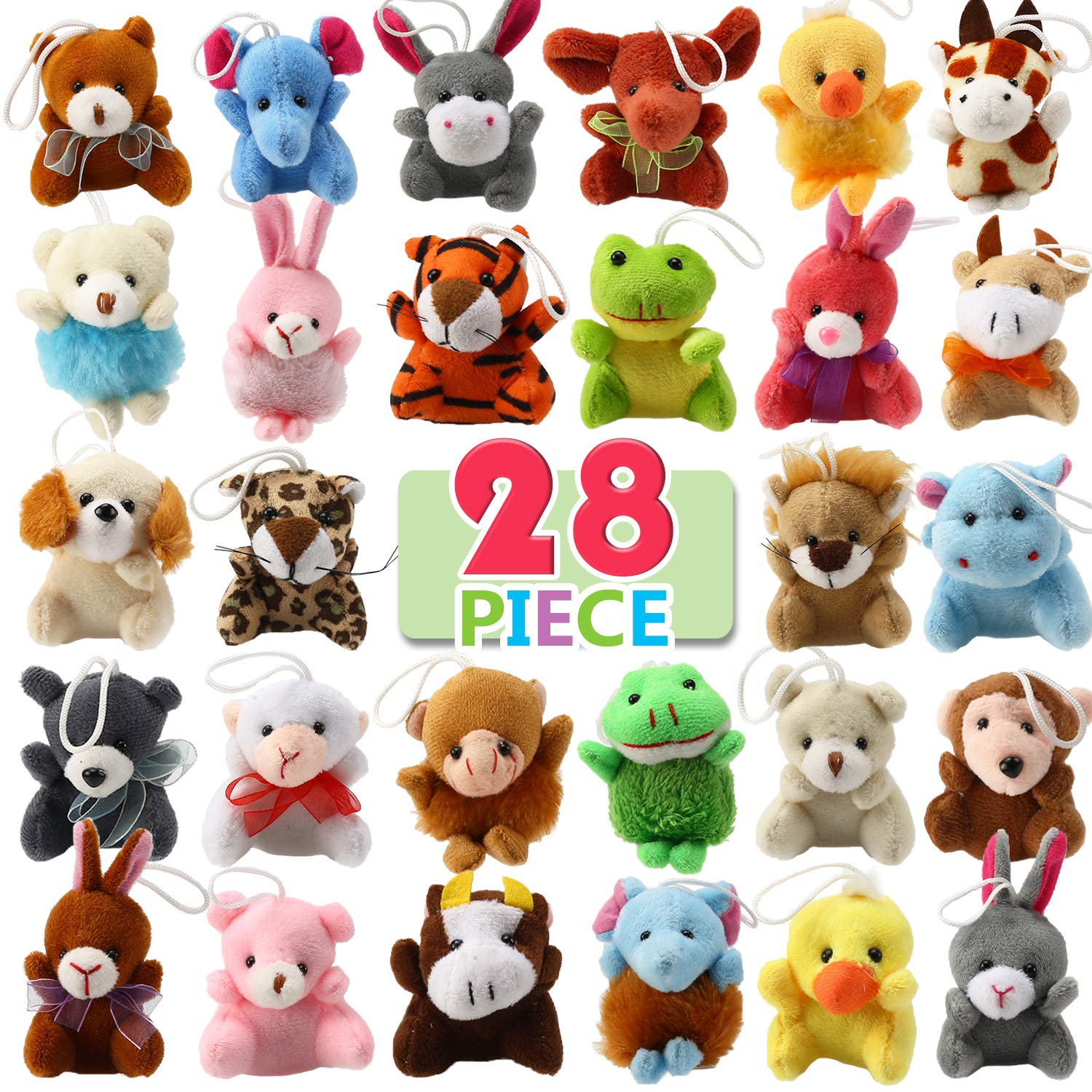 28 Piece Mini Plush Animal Toy Set, Cute Small Animals Plush Keychain Decoration for Themed Parties, Kindergarten Gift Giveaway, Teacher Student Award, Goody Bags Filler For Boys Girls Child Kid by Punertoy