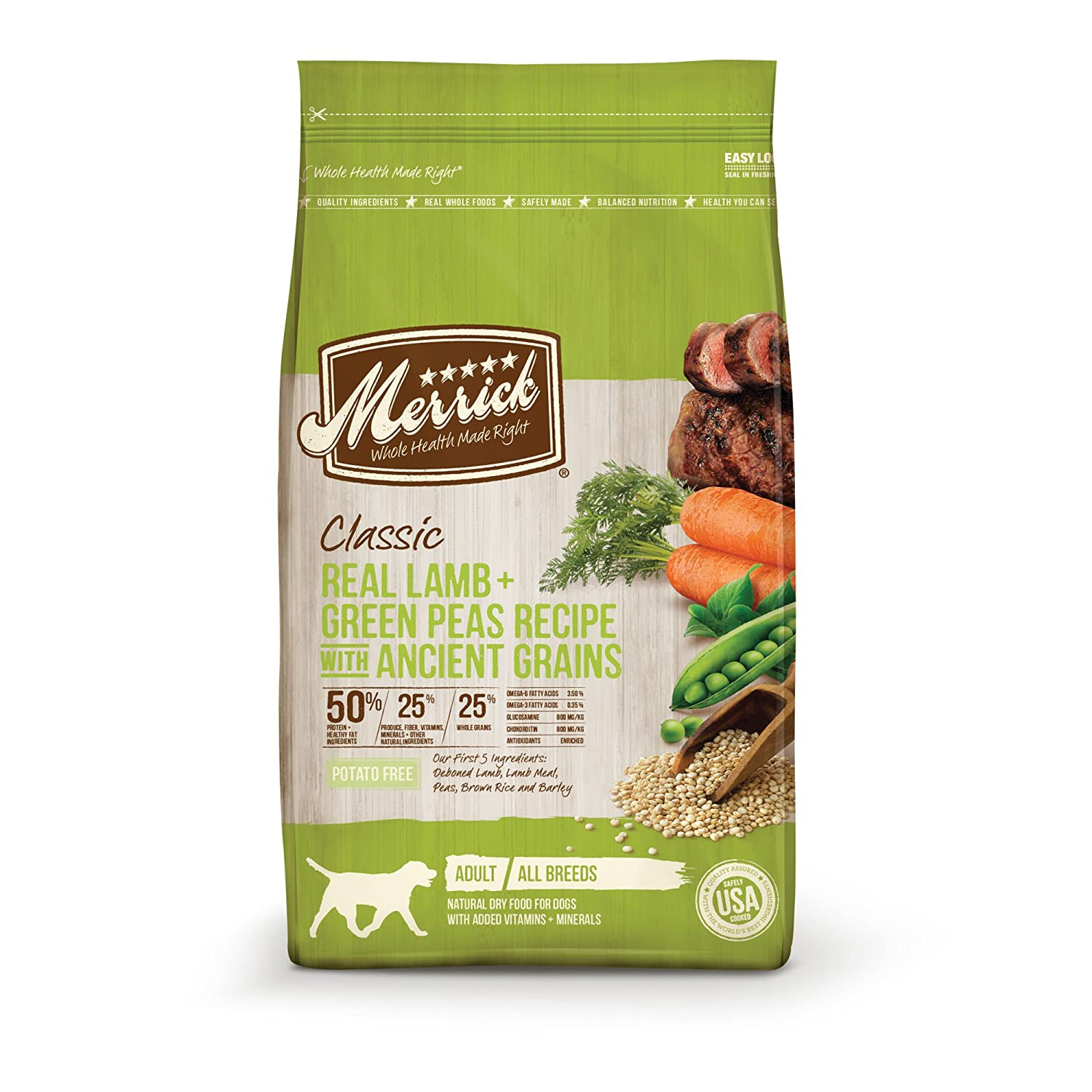 Merrick Classic Real Lamb Green Peas with Ancient Grains Dry Dog Food