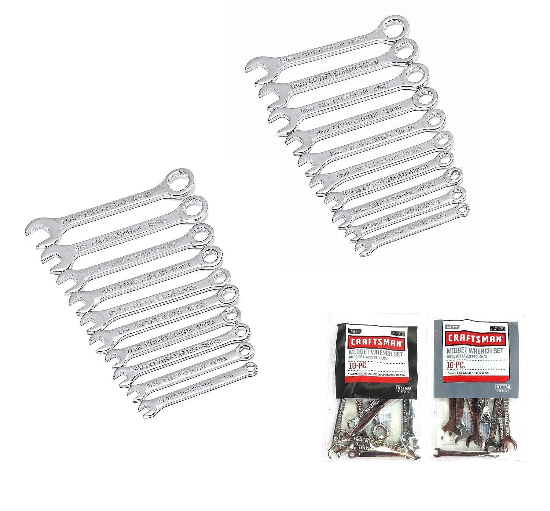 Craftsman 20 Piece Standard SAE /& Metric MM Midget Ignition Wrench Set