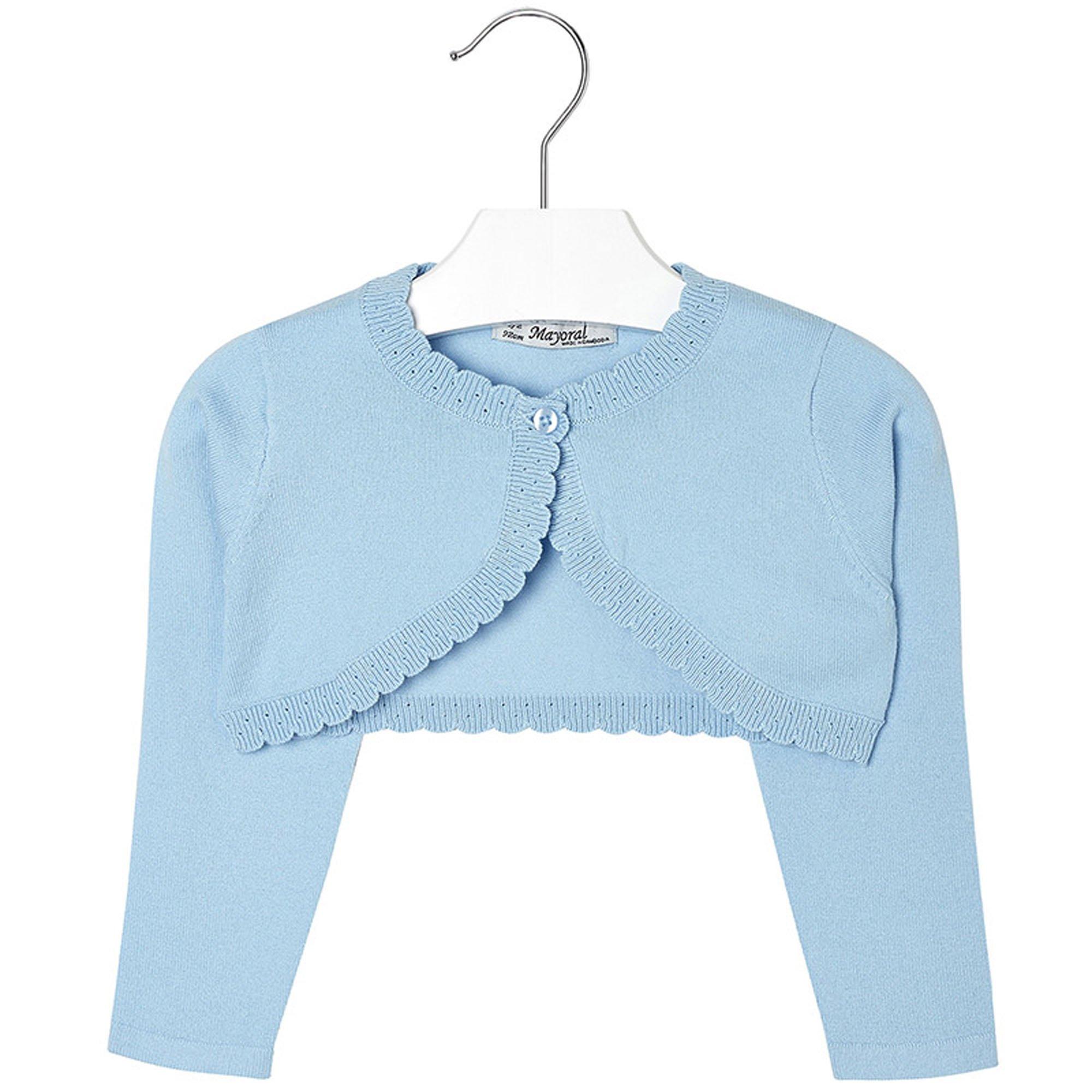 Mayoral Girls 2T-9 Light-Blue Scallop Edge Knit Shrug Cardigan Sweater, Light Blue,5