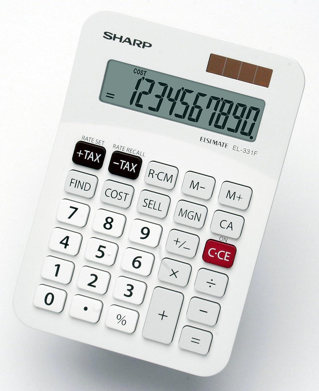 sharp 10 key calculator. sharp desktop calculator solar/battery-power 10 digit 1 key memory w145xd103xh30mm ref el331fb: amazon.co.uk: office products r