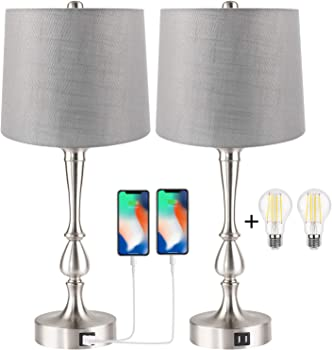 2-Piece Partphoner Touch Table Lamp with Dual USB Charging Ports