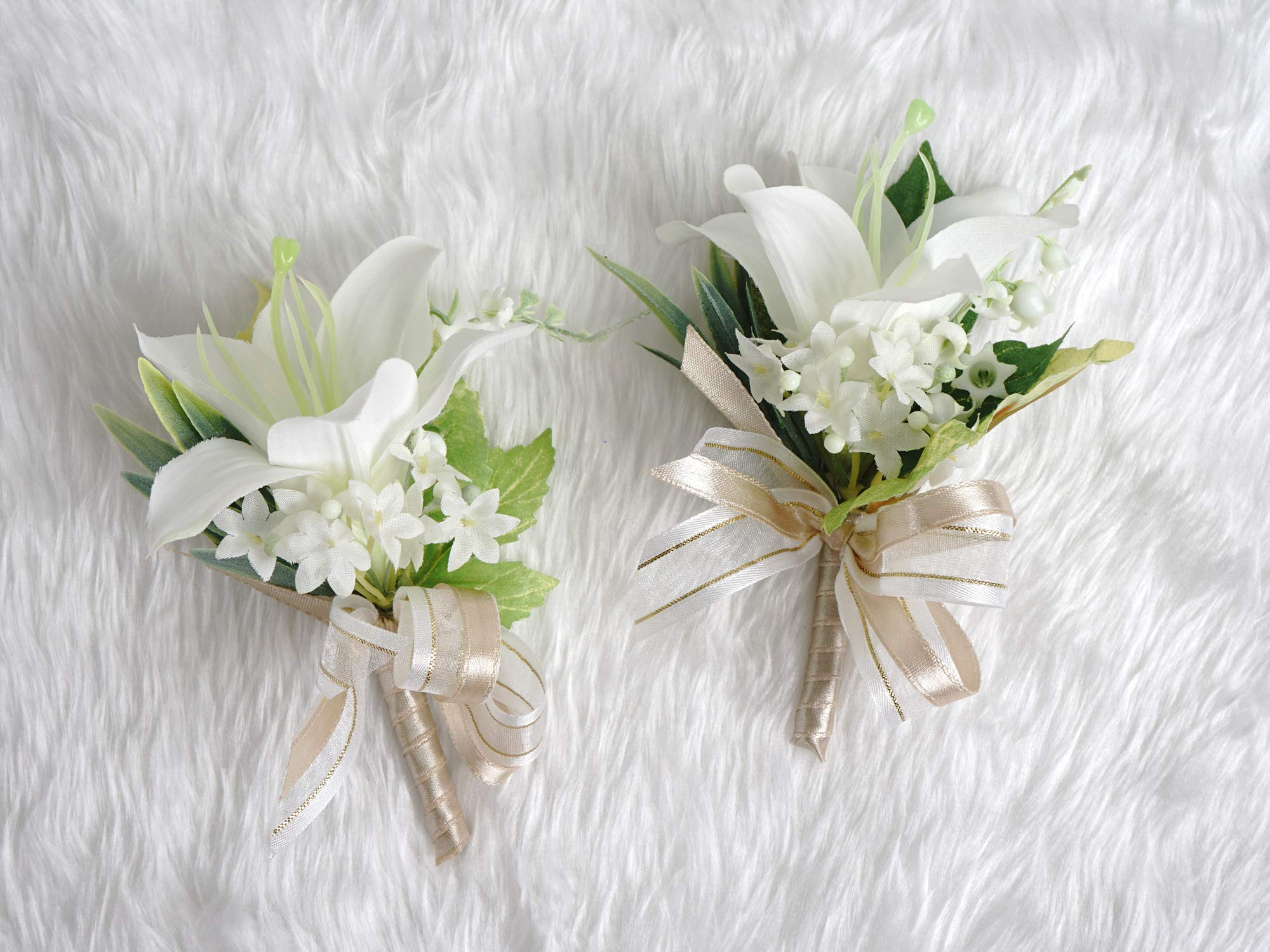 TSG Precious Lily Boutonniere Pins Groom for Wedding Prom Party(2pcs) (Beige Theme) by TSG